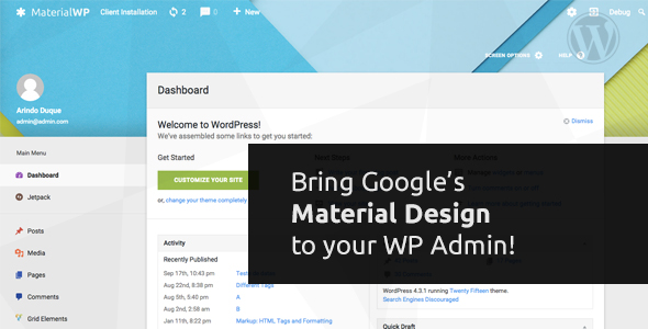 Material WP - Material Design Dashboard Theme - CodeCanyon Item for Sale