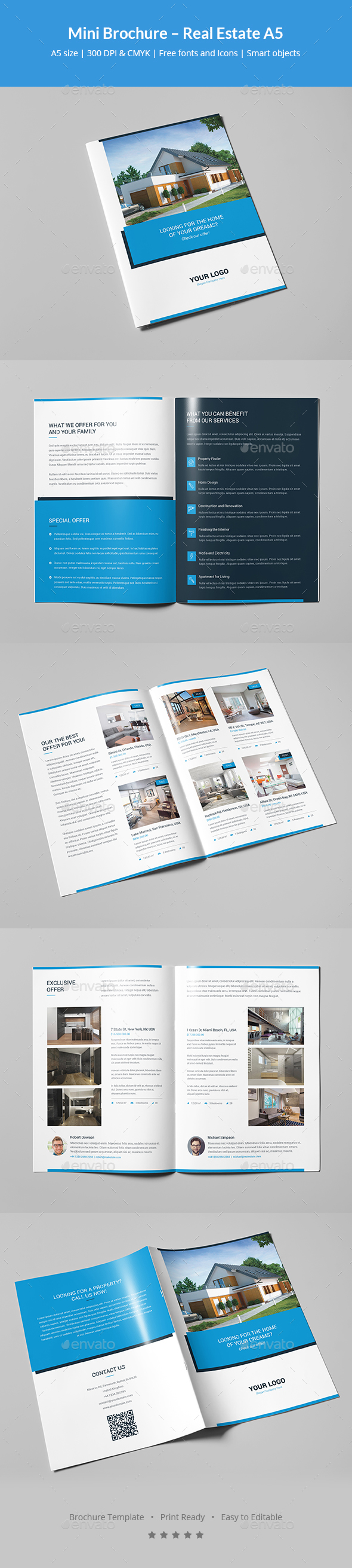 Mini Brochure Real Estate A By Artbart GraphicRiver - Mini brochure template