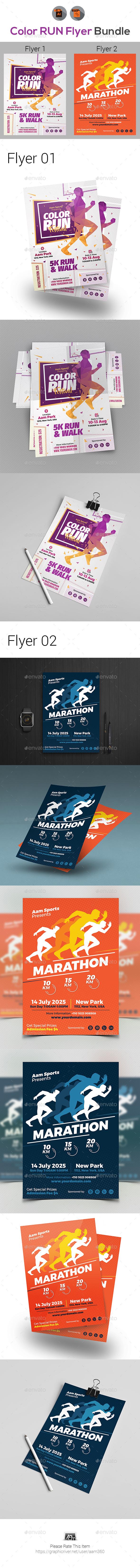 GraphicRiver Color Run Event Flyers Bundle 21090872