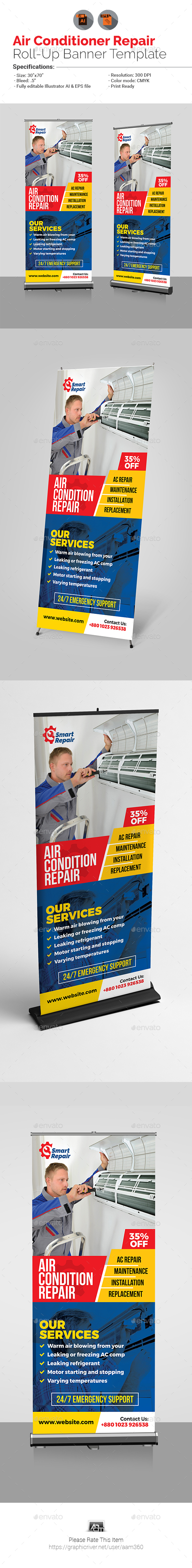 Air Conditioner Repair Service Roll-Up Banner - Signage Print Templates