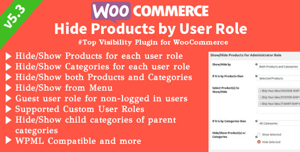 WooCommerce Hide Products | Products, Categories Visibility by User Roles - CodeCanyon Item for Sale