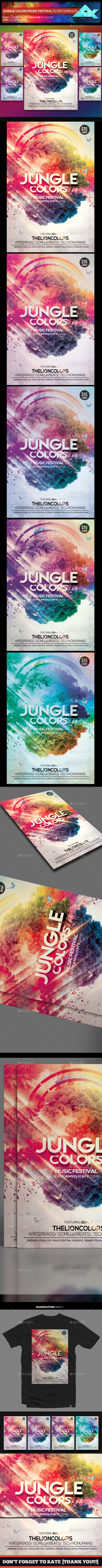Jungle Colors Music Festival Flyer Template - Flyers Print Templates