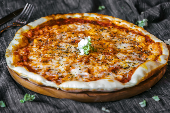 Close image of three cheese Pizza Margherita - Stock Photo - Images