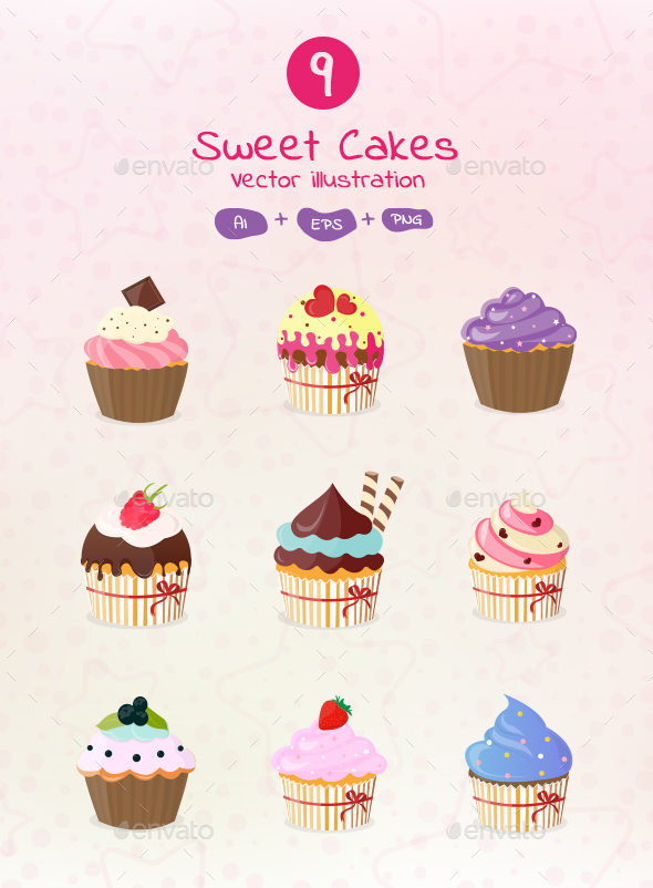 9 Sweet Cakes Vector Illustrations - Food Objects