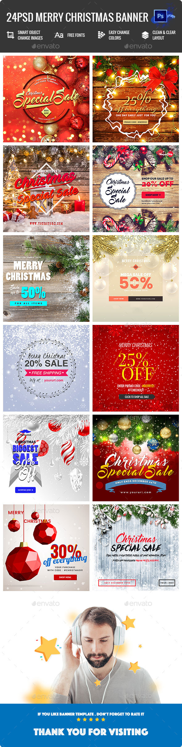 GraphicRiver Merry Christmas Banners Ad Instagram & Facebook Posts [02 Size Each] 21091318