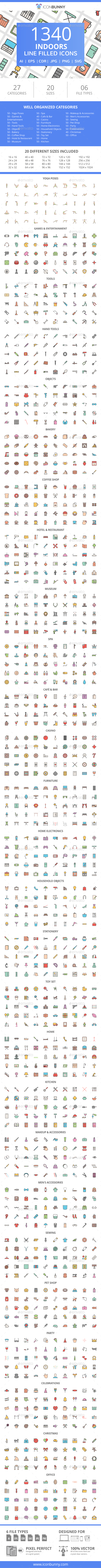 GraphicRiver 1340 Indoors Filled Line Icons 21091336