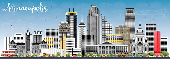 Minneapolis Minnesota USA Skyline with Color Buildings and Blue Sky. - Buildings Objects