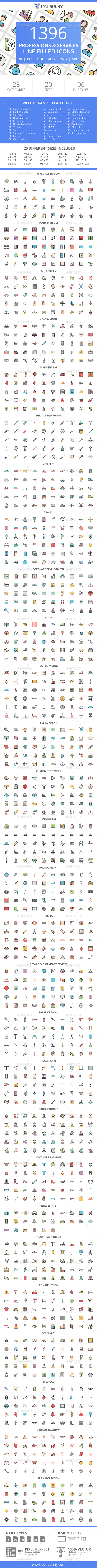 GraphicRiver 1396 Professions & Services Filled Line Icons 21091418