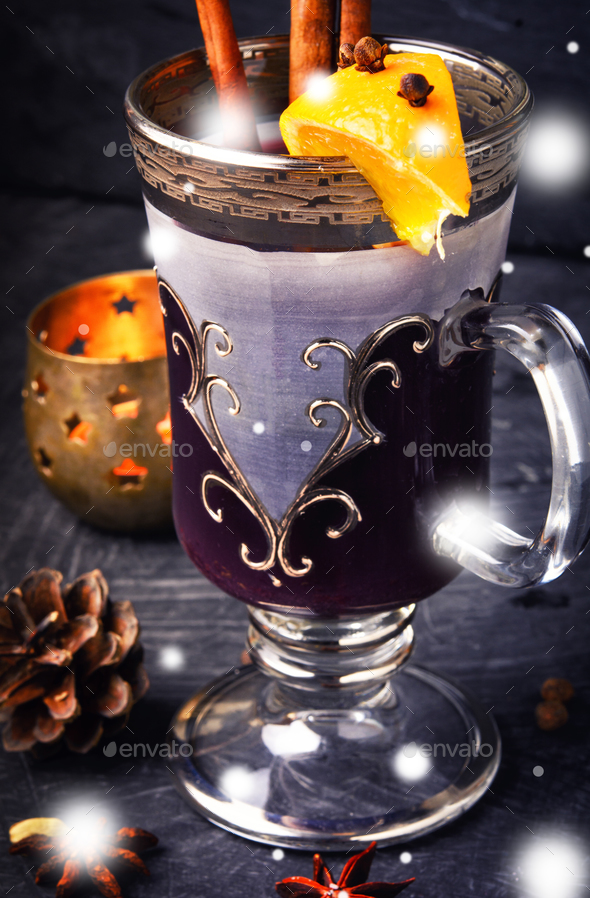 mulled wine in stylish glass - Stock Photo - Images