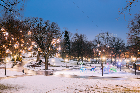 Riga, Latvia. Evening View Of Park Bastion Hill In Festive Chris - Stock Photo - Images