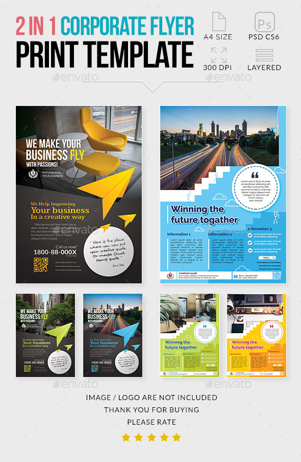 GraphicRiver Multipurpose Corporate Flyer 2 in 1 21091580