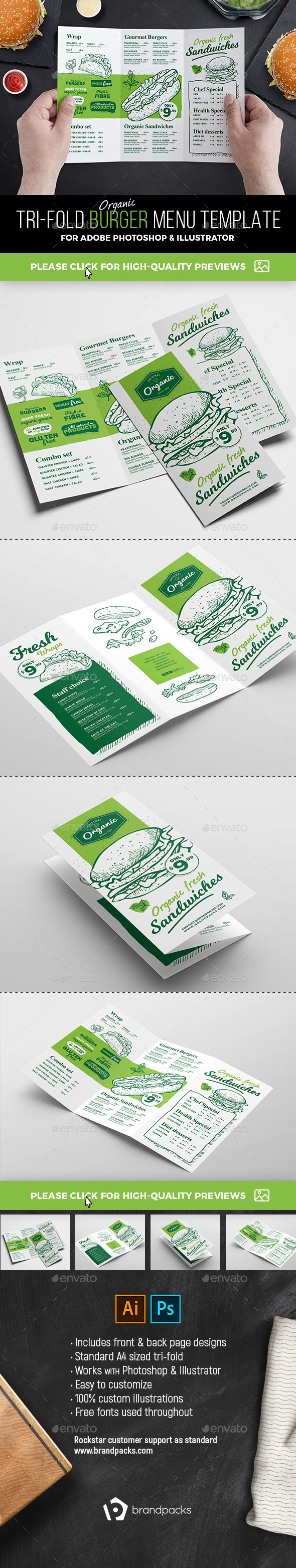 GraphicRiver Tri-Fold Burger Menu Template 21080456