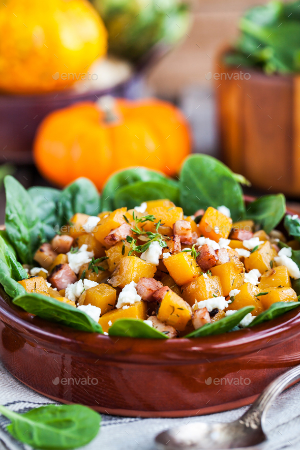 Butternut squash, bacon, spinach and feta cheese warm salad - Stock Photo - Images