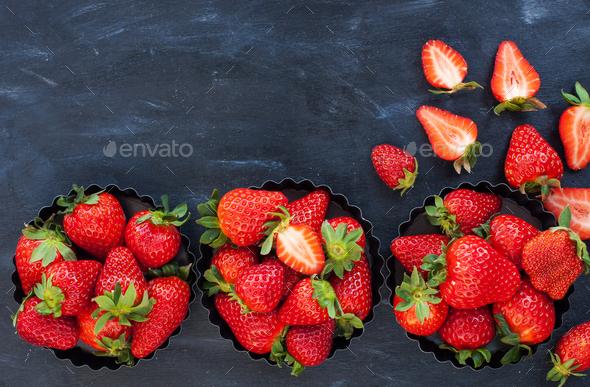 Fresh ripe strawberry on dark background - Stock Photo - Images