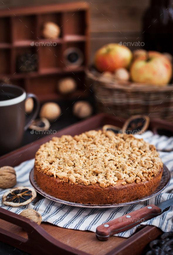 Homemade apple cinnamon crumb coffee cake - Stock Photo - Images