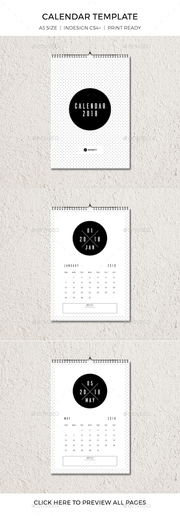 Minimal Retro Calendar 2018 - Calendars Stationery