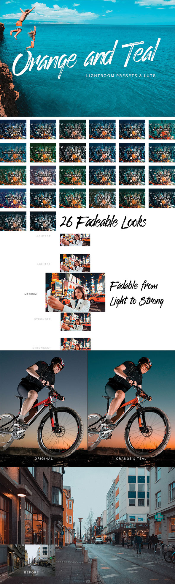 GraphicRiver Orange Teal Lightroom Presets and LUTs 21091784