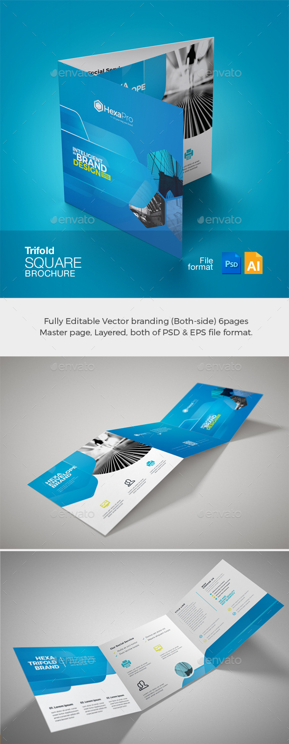GraphicRiver Corporate Business Square TriFold Brochure 21091939