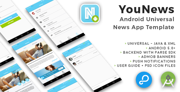 YouNews | Android Universal News App Template - CodeCanyon Item for Sale