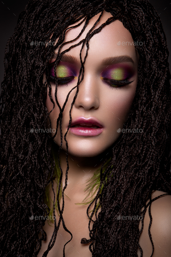 Woman with colorful make up - Stock Photo - Images