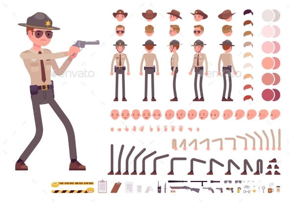 GraphicRiver Sheriff Character Creation Set 21091997