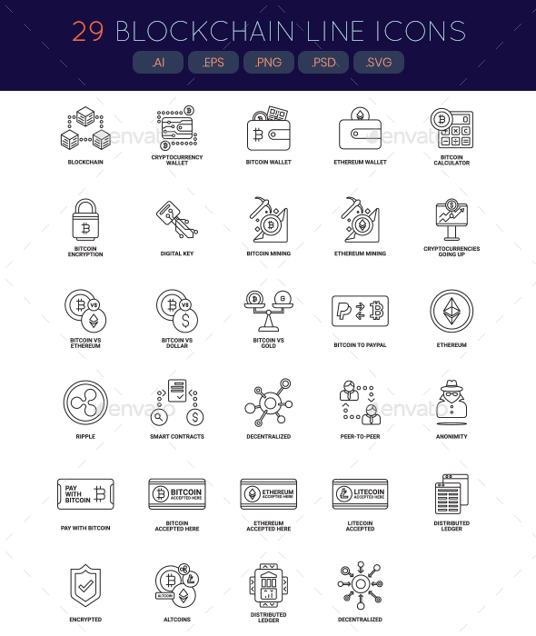 Bitcoin, Cryptocurrency & Blockchain Icons - Technology Icons