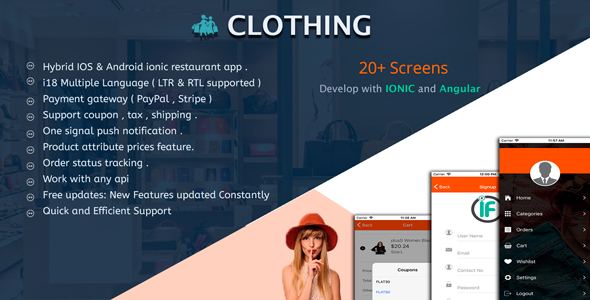 Clothing - Complete Ionic app for e-commerce shop Nulled Scripts