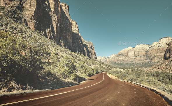 Scenic road in Zion National Park, USA. - Stock Photo - Images