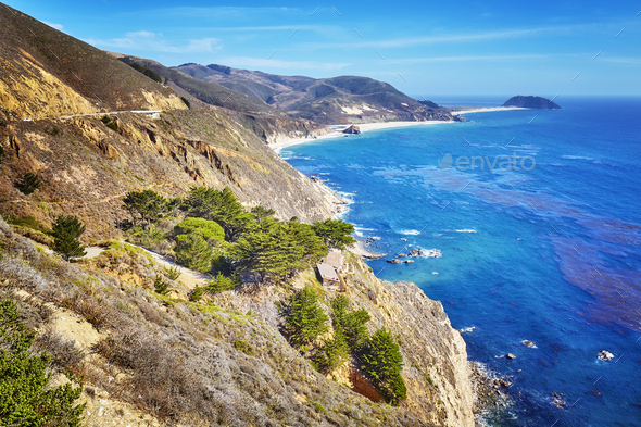 Coastline along the Pacific Coast Highway, USA - Stock Photo - Images