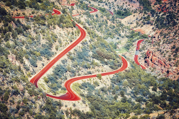 Aerial view of a winding road, Utah, USA. - Stock Photo - Images