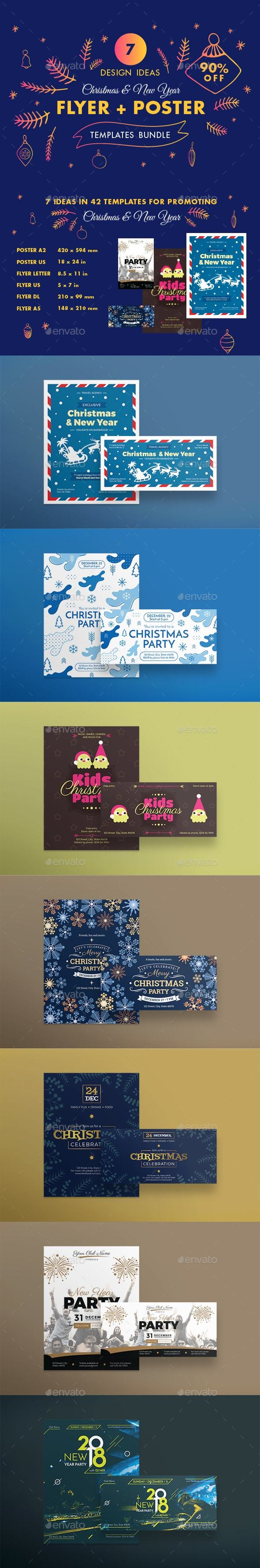 Christmas Flyer Poster Design Templates Bundle - Holidays Events