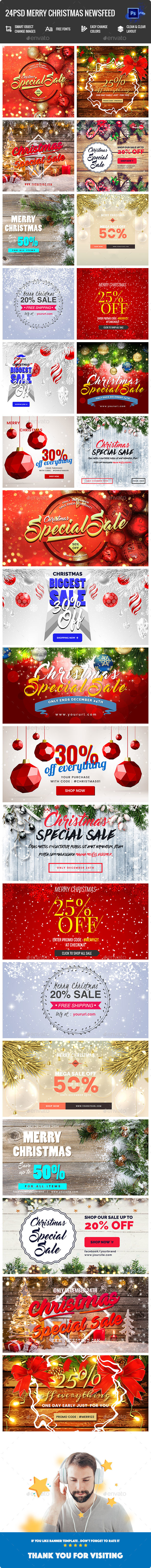 Merry Christmas NewsFeed - 24PSD - Banners & Ads Web Elements