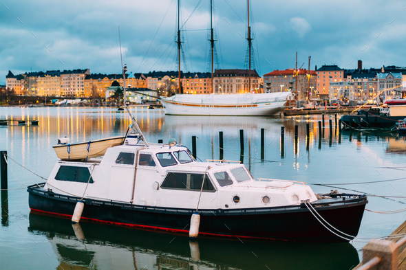 Helsinki, Finland. Marine Boat, Powerboat In Evening Illuminatio - Stock Photo - Images
