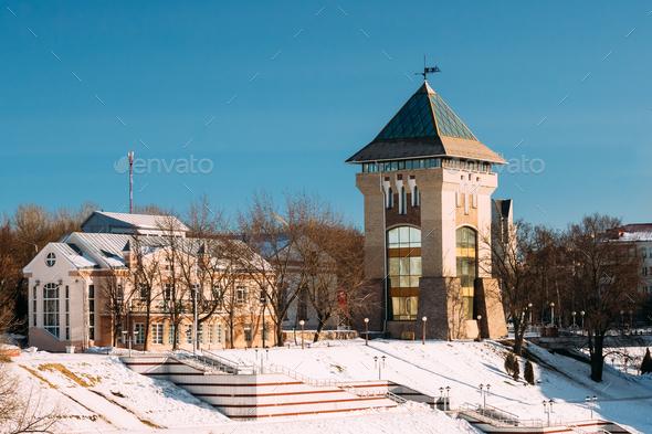 Vitebsk, Belarus. Restored Medieval Tower Duhovskoi Kruglik In S - Stock Photo - Images