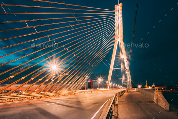 Vansu Bridge In Riga, Latvia. Shroud Bridge.  Cable-Stayed Bridg - Stock Photo - Images