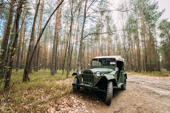 Four-wheel Drive Army Truck GAZ-67 Car Of World War II Parking I - Stock Photo - Images