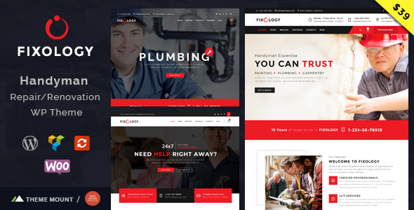 ThemeForest Fixology Handyman Multi-Service WordPress Theme 20901357