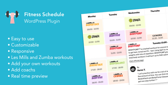 Fitness schedule - Weekly timetable for your fitness workouts (Zumba, Body Attack, Crossfit...)