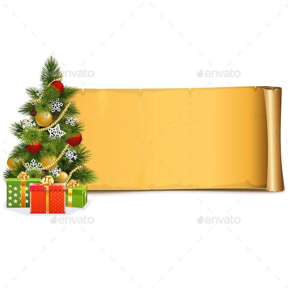 Vector Scroll with Christmas Tree - Christmas Seasons/Holidays