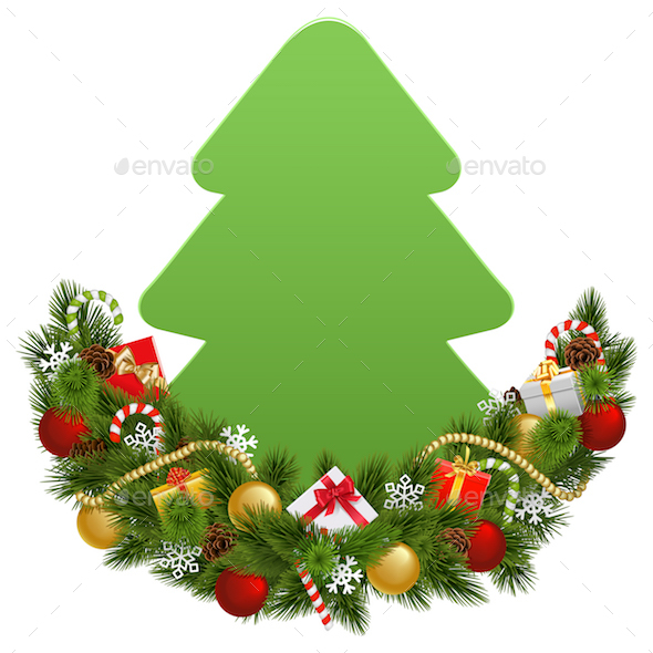 GraphicRiver Vector Christmas Decoration with Paper Fir Tree 21092951