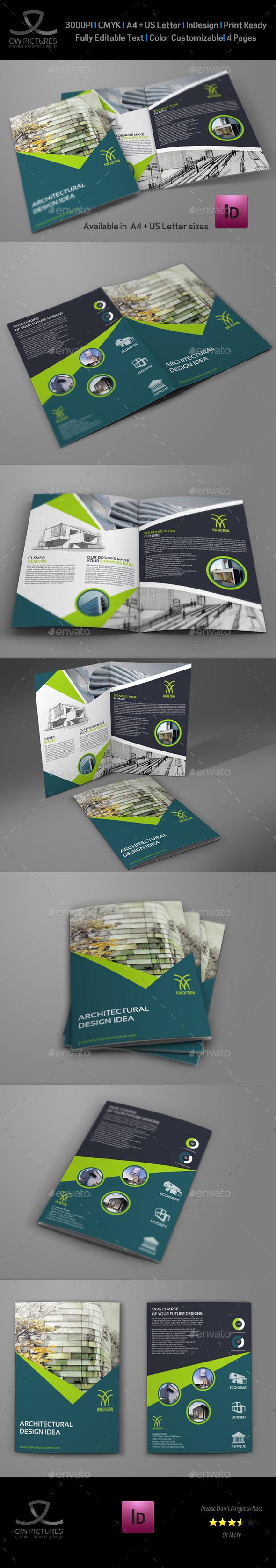 Architectural Design Bi-Fold Brochure Template - Brochures Print Templates