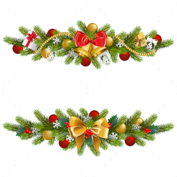GraphicRiver Vector Christmas Fir Decoration with Bow 21092977