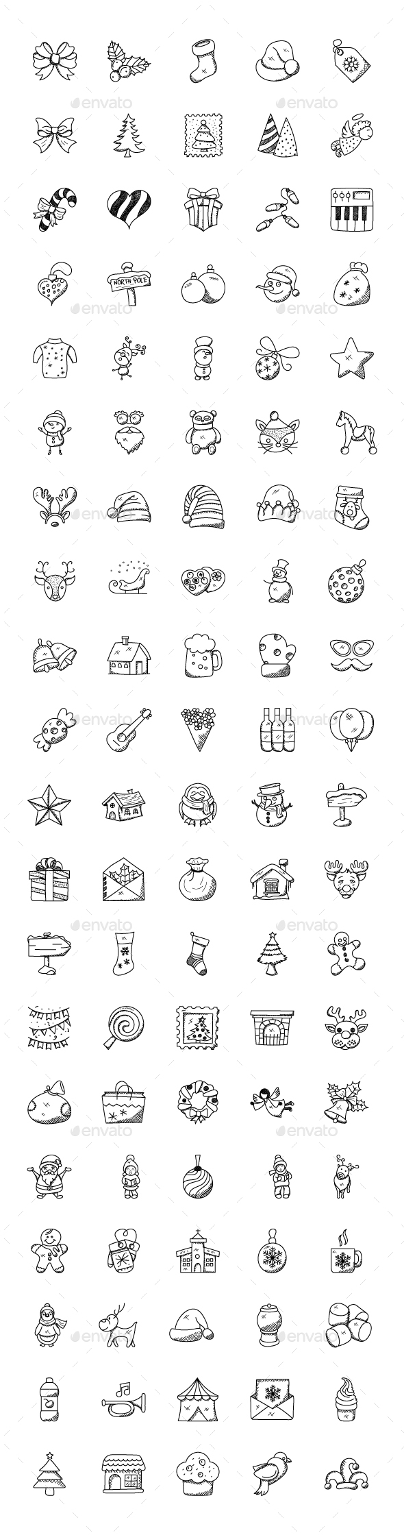 GraphicRiver 100 Christmas Doodle Icons 21092989