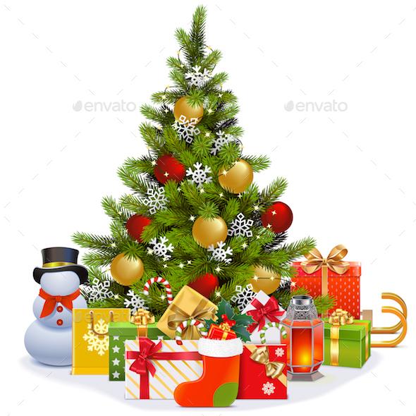 Vector Christmas Tree with Garland - Christmas Seasons/Holidays