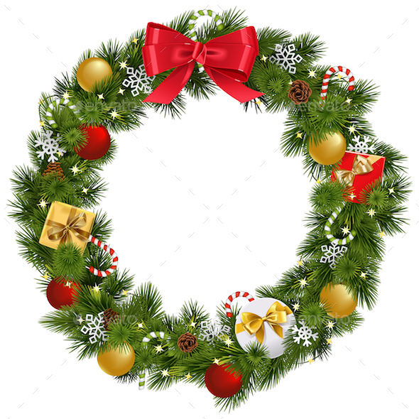 Vector Christmas Wreath with Garland - Christmas Seasons/Holidays