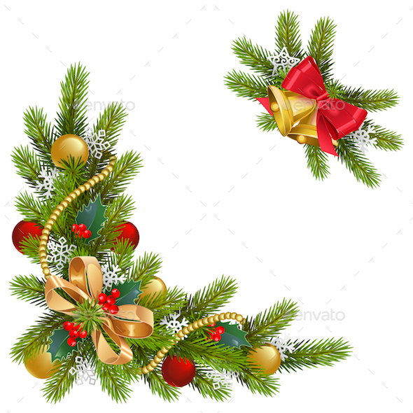 Vector Fir Corner with Decorations - Christmas Seasons/Holidays