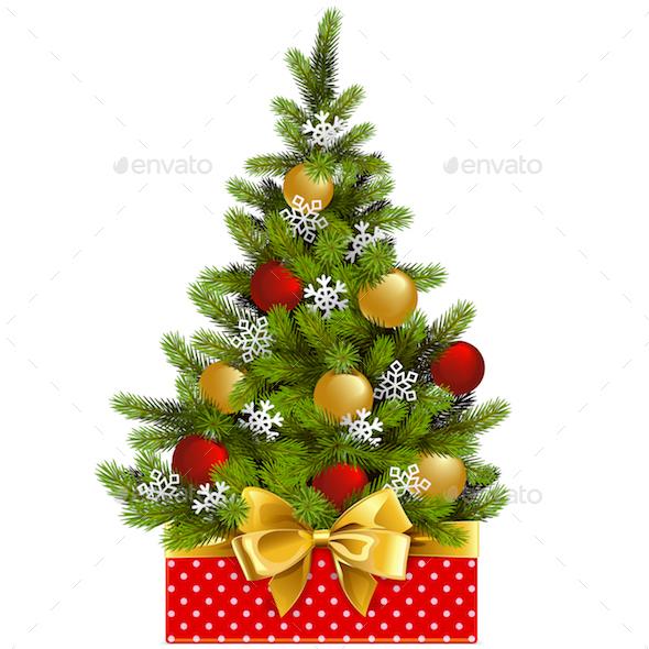 Vector Red Box with Christmas Tree - Christmas Seasons/Holidays