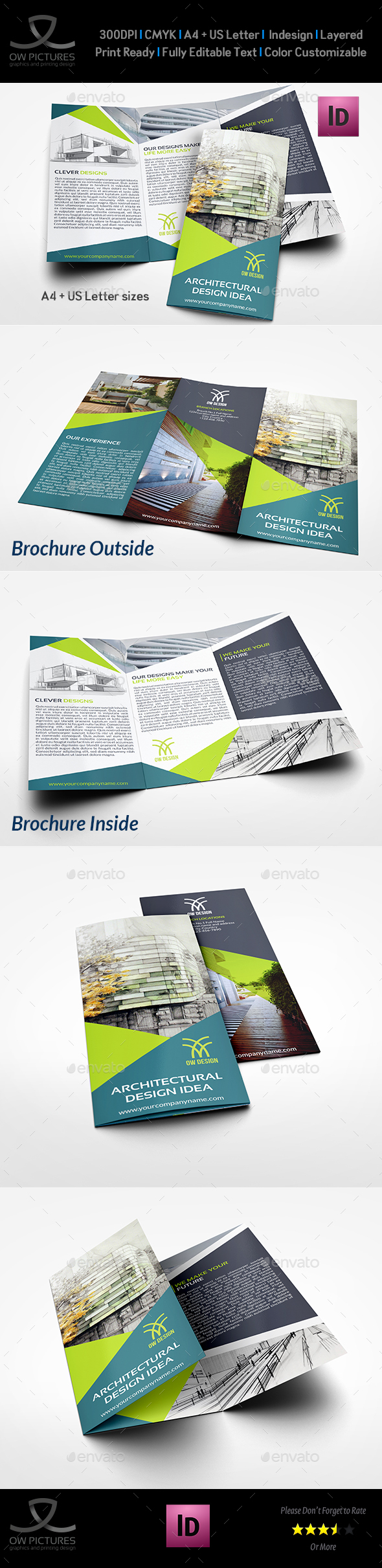 Architectural Design Tri-Fold Brochure Template - Brochures Print Templates