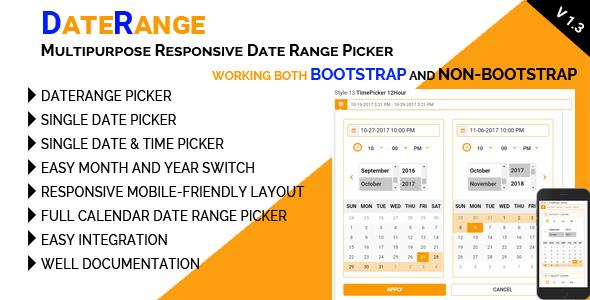 DateRange - Multipurpose Responsive Date Range Picker - CodeCanyon Item for Sale