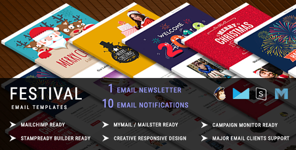 Festival - Christmas Responsive Email Template + 10 Notifications with Stampready Builder Access